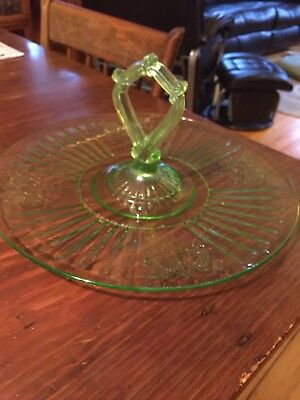 Hocking Green Mayfair Serving Tray With Center Handle 12""