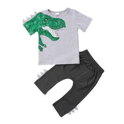 fa43d6d8 Kids Toddler Boy Girl Clothes Dinosaur Tops T-shirt + Pants Trousers  Outfits Set