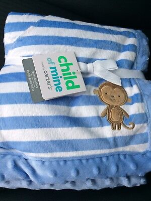 Nwt Child Of Mine Carter's Carters Blue Striped Monkey Blanket Baby Boy