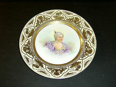 """French ?? Hand Painted Victorian Lady 9 3/8"""" Cabinet Plate Heavy Gold Design"""