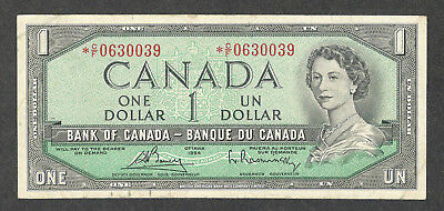 1954 $1.00 *C/F BC-37cA VF+ ** Scarce Bank of Canada ASTERISK REPLACEMENT Note