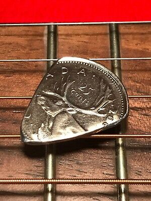 Hand Cut Guitar Pick From A Canadian Quarter 25 Cent Coin Hand Cut And Polished