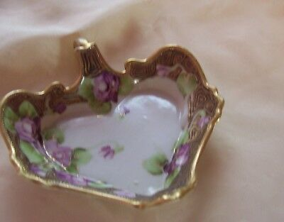 Vintage Hand painted Nippon China Dish Nappy Spring Violets Gold Moriage Trim