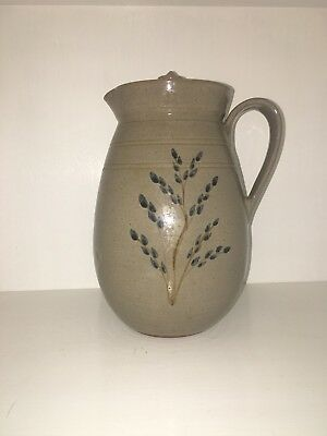 """Vintage JUGTOWN WARE Pottery Large Covered Pitcher Floral Decoration 9 5/8"""" Tall"""