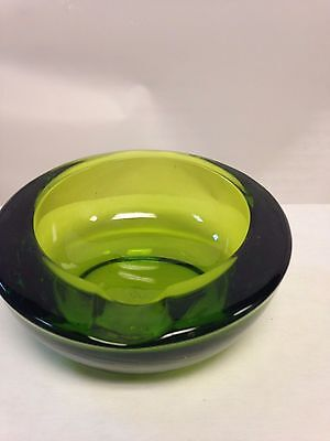 Olive green mid 60's hand blown curved glass ashtray 1 rest, small but heavy