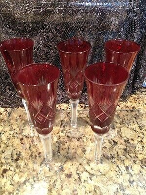 Antique Russian Ruby Cut To Clear Heavy Toasting Goblets Priced Each Exquisite