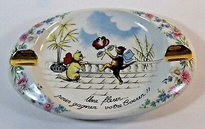 Vintage Paul Pastaud Limoges Porcelain Ashtray, French Cats with Flower