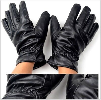 Soft Ladies Womens Touch Screen Fleece Lined Black Leather Fitten Warm Gloves