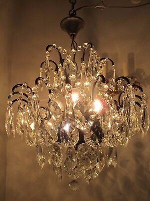 Antique Vnt French Spider Style Crystal Chandelier Lamp 1940s 17in Rare----