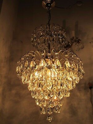 Vnt French Waterfall Style Real Swarovkski Crystal Chandelier 1960's 18in Ø dmtr