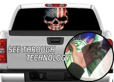 P473 Distressed American Flag Rear Window Tint Graphic Decal Wrap Back Pickup
