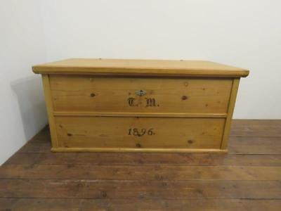 Antique Pine Blanket Box / Bedding Chest With Original Initials And Date 1896