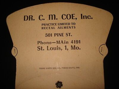 Antique Adverting Cardboard Hand Fan Dr C M Coe Rectal Ailments St Louis Mo