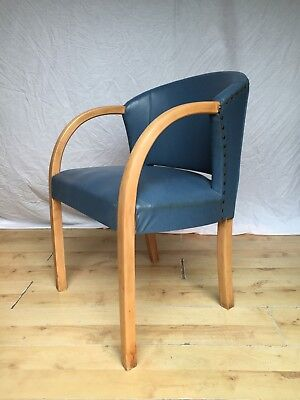 Art Deco Vintage Bentwood Beech Blue Curved Arm Desk Office ArmChair Chair