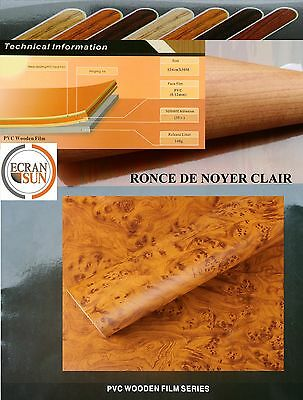 covering adhesif ronce de noyer clair - thermoformable en largeur de 1.22 m.