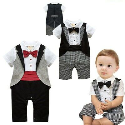 Baby Boy Bow Tie Tuxedo Bodysuit Outfit Christening Wedding Party Birthday