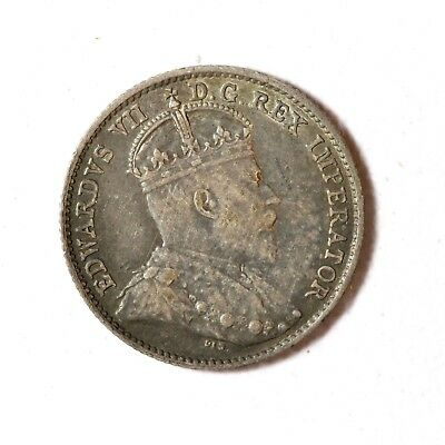 Canada Silver 5 Cents 1910 Toned Very Fine