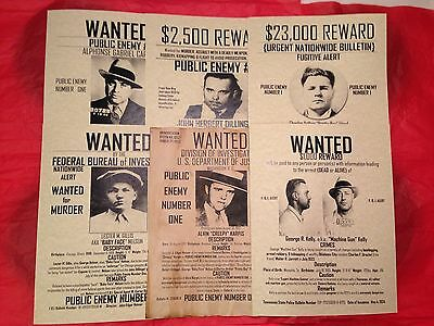 Wanted Posters Set Of (6) Capone Mafia Mobster Vintage Gangster Fbi Police Law