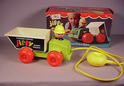 Vintage Fisher Price Jiffy Dump Truck Pull Toy 1970 in orig box #156 works great