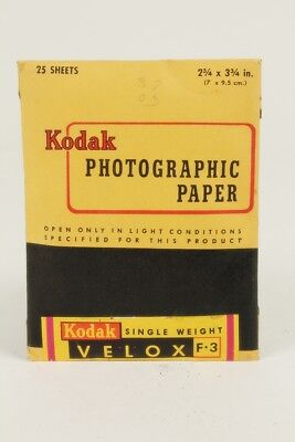 Vintage Kodak 2 3/4 x 3 3/4 Velox F-3 photographic paper - 25 Sheets Unopened