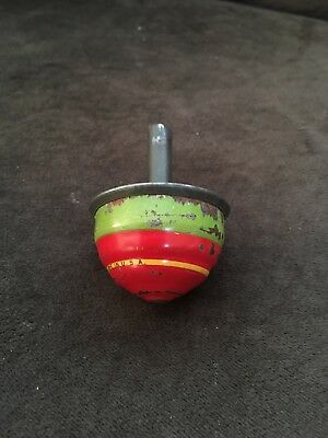 Vintage Tin? / Litho? Red and Green Child's Toy Spinning Top
