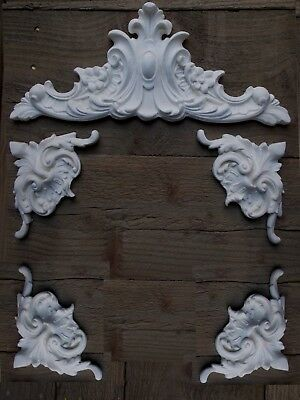 Pediment With Four corner Mouldings White Ornate French Style