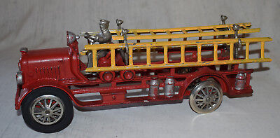 "Vintage Hubley Cast Iron Fire Ladder Truck with Spoked Wheels - 13"" Long"