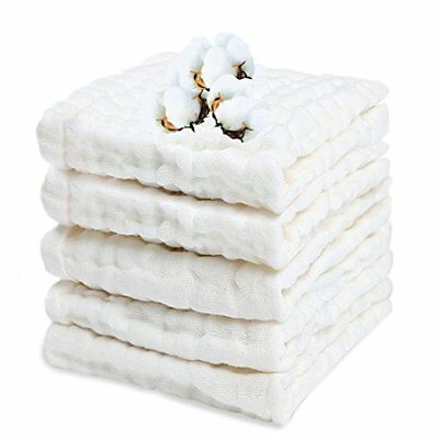 Organic Cotton Baby Muslin Washcloths Wipes Newborn Face Towel Soft 5Pcs White