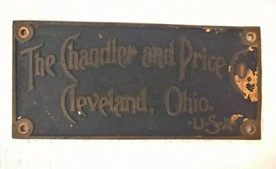 Antique 1920's Chandler & Price Co-Cleveland, Ohio Brass Printing Press Label