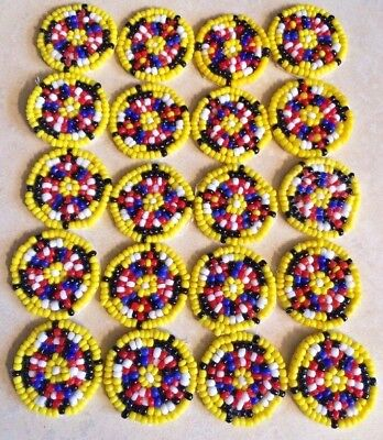 Lot of 20 Native American St labre Indian School Small Beaded Patches NOS