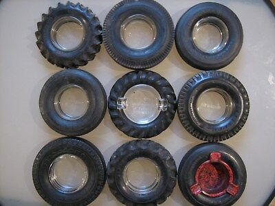 Lot Of 9 Firestone Rubber Tire Ashtray Glass Inserts Promotional