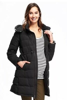 NWT Old Navy Maternity Hooded Frost Free Coat /Jacket / Parka - Medium - Black