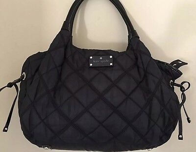 Kate Spade Stevie Black Excellent Quilted Diaper Bag Tote Rare New York lining