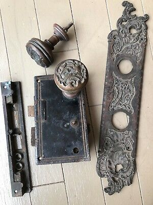 Vintage Set`brass Door Knob Cast Plate Lock System