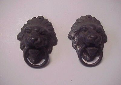 2 Vintage Lion Heads Ornate Architectural Hardware Drawer Pulls