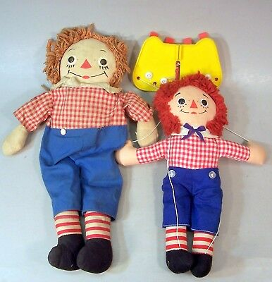 2 Old Raggedy Andy Dolls--Georgene and Knickerbocker Puppet