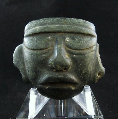 Ancient Pre-Columbian Totec Carved Stone Death Mask  ~ Extraordinary Piece!