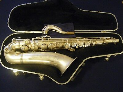1936 CONN LATE TRANSITIONAL ERA 10M NAKED LADY Bb TENOR SAXOPHONE - SILVER PLATE