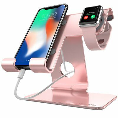 Universal 2 in 1 Phone Stand,ZVE Aluminum Apple Iwatch Charging Stands with case