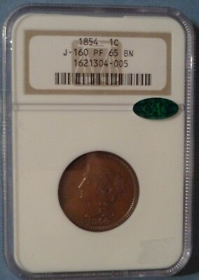J160 1854 Large Cent Pattern NGC PF65 BN CAC