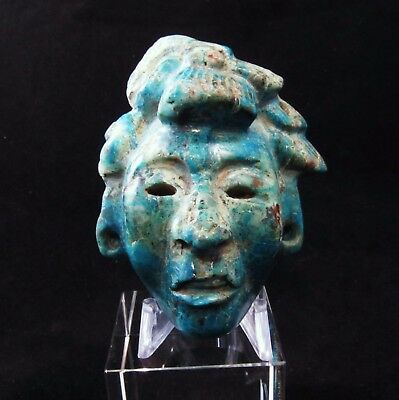 Ancient Pre-Columbian Mayan Turquoise Stone Mask Pendant - A Real Jaw Dropper!