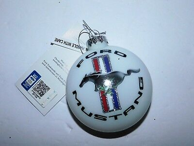 New with tag Officially Licensed Ford Mustang Glass Christmas Ornament