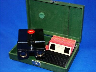 SERVICED 1950s Lighted Realist Red Button 3D Stereo Viewer ST61 + CASE & SLIDES