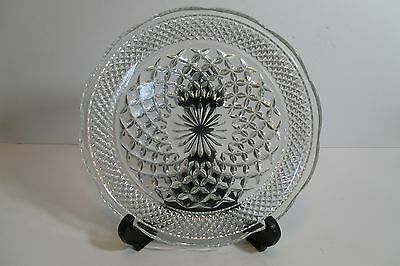 """Vintage CUT-GLASS CLEAR Round DIAMOND PATTERN PLATE Scalloped Edge - 9 1/2"""""""