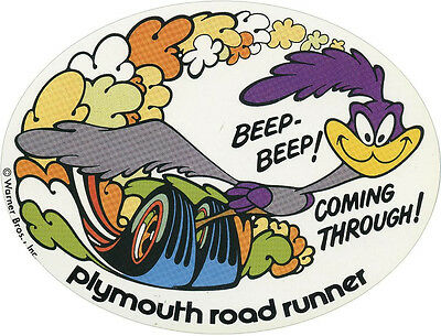 """#746 1 3.5/"""" Plymouth Road Runner REPRO Retro Vintage Vinyl Decal LAMINATED"""