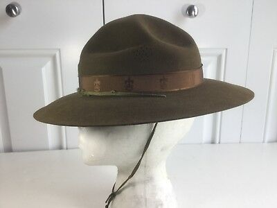 Vintage Boy Scout Of America Official Hat Sz. 6 7/8 Bsa Crown Band Bsa Campaign