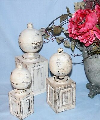 Set of 3 Carved Wood Decorative Display Finials Post Tops