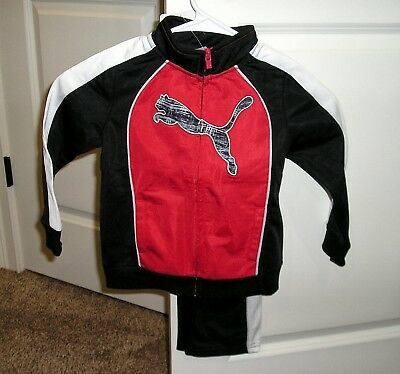 PUMA 2 Piece Boys 3T Fierce Red Poly Track Suit NEW W/ Tags