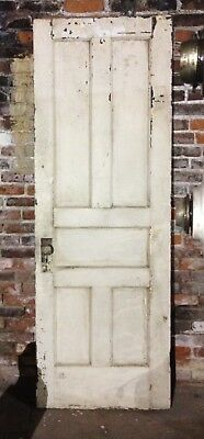 "Antique Vintage 5-Panel Wood Door with original knobs 28x80"" Early 1900's"