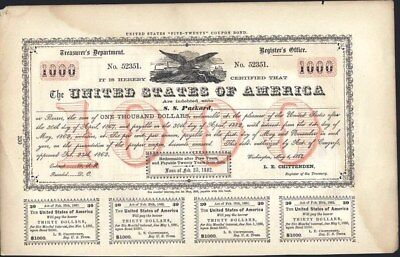 $1000 United States Bond, 1862 With Coupons, Page From Financial Book